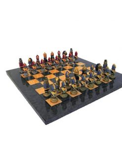 """Schachensemble """"Moncada III"""" Schachbrett aus Ahornholz & Schachfiguren aus Metall Massiv Handbemalt"""