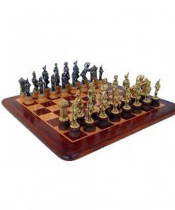 """Schachensemble """"Napoleon II"""" Schachbrett aus Rosen- und Ahornholz & Schachfiguren aus Metall Massiv"""
