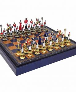 "Schachensemble ""Napoleon III"" Schachbrett aus Kunstleder & Schachfiguren aus Metall Massiv Handbemalt"