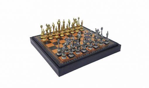 """Schachensemble """"Napoleon"""" Schachbrett aus Kunstleder & Schachfiguren aus Metall Massiv"""