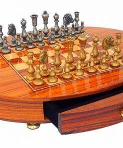 """Schachensemble """"Oriental Rosenholz"""" Schachbrett Oval aus Rosenholz Massiv & Schachfiguren aus Messing Massivf"""