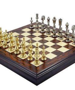 """Schachensemble """"Oriental"""" Schachbrett aus Nussbaum- und Ahornholz mit Aufbewahrungsfach & Schachfiguren aus Messing"""