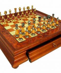 """Schachensemble """"Oriental Ulme"""" Schachbrett mit Standfüßen und Aufbewahrungsschublade & Schachfiguren aus Holz und Messing Massiv"""
