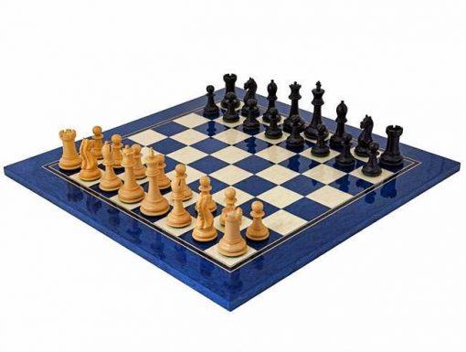 """Schachensemble """"Oxford Schwarz/Blau"""" Schachbrett aus Ahorn Blau und Schachfiguren aus Buchsbaumholz"""