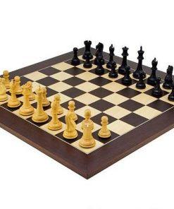 """Schachensemble """"Oxford Schwarz/Wengeholz"""" Schachbrett aus Wenge- und Ahornholz & Schachfiguren aus Buchsbaumholz"""