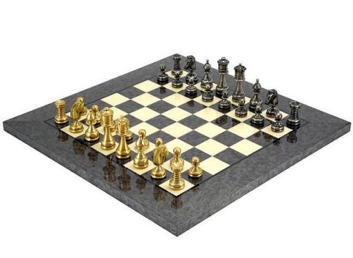 "Schachensemble ""Persien II"" Schachbrett aus Ahornholz & Schachfiguren aus Messing Massiv"