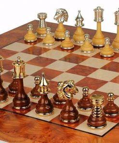 """Schachensemble """"Persien Luxusausführung"""" Schachbrett aus Ulmen- und Ahornholz & Schachfiguren aus Holz und Messing Massiv Gold-/Silberbeschichtung"""