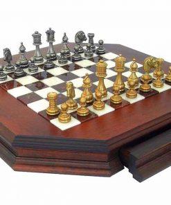 """Schachensemble """"Persien Superior"""" Schachbrett Achteckig aus Massivholz mit Aufbewahrungsschublade"""
