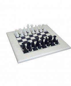 "Schachensemble ""Pyramide Modern Weiß"" Schachbrett aus Holz Massiv Lackiert Weiß & Schachfiguren aus Holz lackiert Schwarz/Weiß"