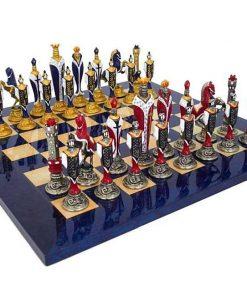 """Schachensemble """"Renaissance Luxusausführung"""" Schachbrett aus Ahornholz Lackiert Blau & Schachfiguren aus Metall Handbemalt"""