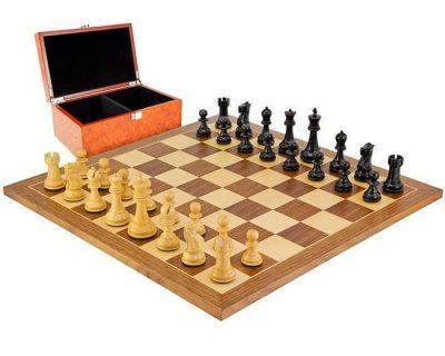 """Schachensemble """"Reykjavik"""" Schachbrett aus Nussbaum- und Ahornholz & Schachfiguren aus Ebenholz"""