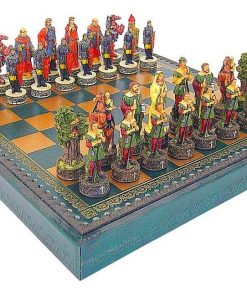 "Schachensemble ""Robin Hood"" Schachbrett aus Kunstleder & Schachfiguren aus Kunstharz Handbemalt"
