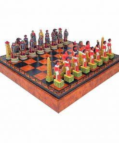 "Schachensemble ""Römer gegen Ägypter"" Schachbrett aus Kunstleder & Schachfiguren aus Kunstharz Handbemalt"