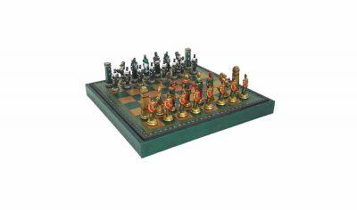 "Schachensemble ""Römer gegen Barbaren Farbe"" Schachbrett aus Kunstleder & Schachfiguren aus Metall Massiv Handbemalt"