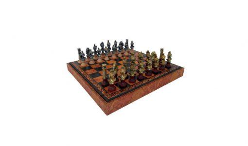 """Schachensemble """"Römische Büsten"""" Schachbrett aus Kunstleder & Schachfiguren aus Holz und Metall Massiv"""