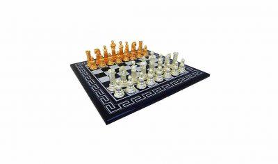 "Schachensemble ""Römisches Reich II"" Griechisches Schachbrett aus Holz Massiv & Schachfiguren aus Metall Gold-/Silberbeschichtung"