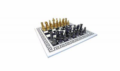 """Schachensemble """"Römisches Reich III"""" Griechisches Schachbrett aus Holz Massiv Weiß & Schachfiguren aus Metall Massiv"""