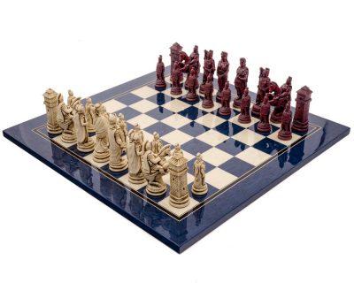 """Schachensemble """"Römisches Reich IV"""" Schachbrett aus Ahornholz Blau und römische Schachfiguren"""
