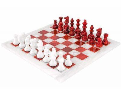 """Schachensemble """"Rot und Weiß"""" Schachbrett und Schachfiguren aus Marmot Antik"""