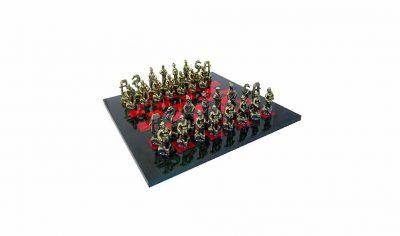 """Schachensemble """"Samurai"""" Schachbrett aus Bruyèreholz Bemalt & Schachfiguren aus Metall Massiv"""
