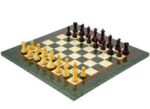 """Schachensemble """"Sandringham III"""" Schachbrett aus Ahornholz & 3x16 Schachfiguren aus Sandelholz"""