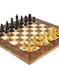 "Schachensemble ""Sizilianer II"" Schachbrett aus Bruyère- und Ulmenholz Seidenmatte Lackierung & Schachfiguren aus Rosenholz"