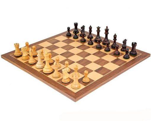 """Schachensemble """"Sizilianer"""" Schachbrett aus Ahorn- und Nussbaumholz & Schachfiguren aus Rosen- und Buchsbaumholz"""