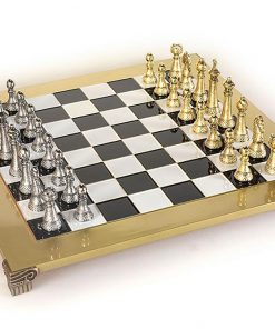 """Schachensemble """"Staunton Design II"""" Große Schachfiguren aus Metall Gold/Silber und Schachbrett Gold"""