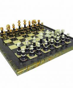 """Schachensemble """"Staunton Fantasy XL"""" Schachbrett aus Ahornholz Grün & Schachfiguren aus Messing und Holz Gold-/Silberbeschichtung"""