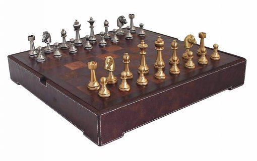 "Schachensemble ""Staunton Leder"" Schachbrett aus echtem Leder & Schachfiguren aus Messing Massiv"