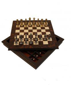 """Schachensemble """"Staunton Medium """" Schachbrett aus Nussbaum- und Ahornholz & Schachfiguren aus Metall"""