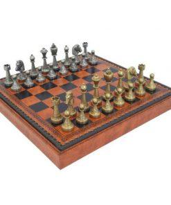 """Schachensemble """"Staunton Mix"""" Schachbrett aus Kunstleder mit integriertem Aufbewahrungsfach & Schachfiguren aus Metall Massiv"""
