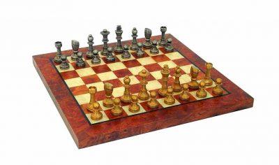 """Schachensemble """"Staunton Piccolo"""" Schachbrett aus Ulmen- und Bruyèreholz & Schachfiguren aus Messing Massiv"""