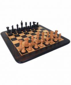 """Schachensemble """"Staunton Pro"""" Schachbrett aus Rosen- und Ahornholz & Schachfiguren aus Palisanderwurzelholz (Rosenholz)"""