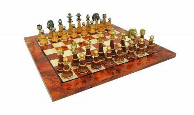 """Schachensemble """"Staunton XL II"""" Schachbrett aus Ulmen- und Bruyèreholz Lackiert & Schachfiguren aus Holz und Messing"""