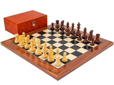 "Schachensemble ""Supreme"" Schachbrett aus Rosenholz"