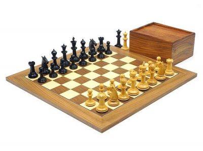 """Schachensemble """"The Bath"""" Schachbrett aus Ahorn- und Nussbaumholz & Schachfiguren aus Ebenholz"""