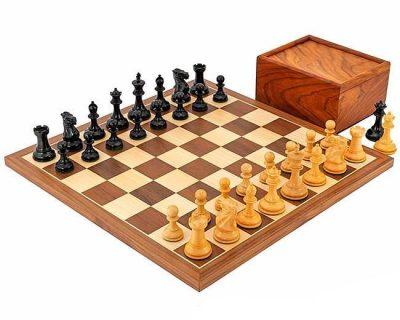 """Schachensemble """"Turnier Kompakt"""" Schachbrett aus Ahorn und Nussbaum"""