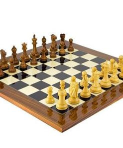 "Schachensemble ""Winchester"" Schachbrett aus Palisanderholz und Schachfiguren aus Rosenholz"
