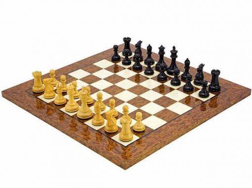 """Schachensemble """"Windsor Cocoa Burl"""" Schachbrett und Schachfiguren aus Ahorn-"""