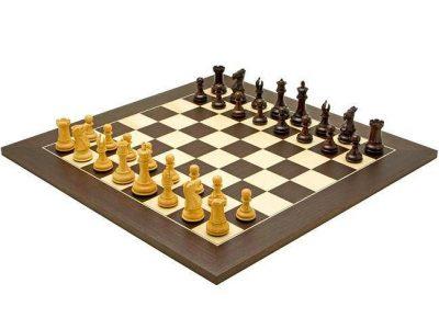 """Schachensemble """"Windsor III"""" Schachbrett aus Wenge- und Ahornholz & Schachfiguren aus Rosenholz"""