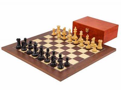 """Schachensemble """"Windsor"""" Schachbrett aus Palisanderwurzelholz und Ahornfurnier"""