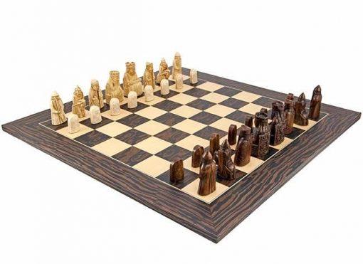"""Schachensemble """"Isle of Lewis"""" Schachbrett aus Ebenholz und Ahorn & Schachfiguren aus Kunstharz"""
