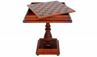 """Schachtisch """"Lounge"""" Schachbrett und Aufbewahrungsfach aus Holz  und Kunstleder"""