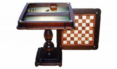 """Schachtisch """"Zwei-in-einem II"""" Schachbrett und Backgammonbrett aus Ulmen- und Bruyèreholz"""