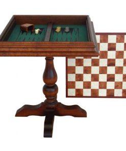 """Schachtisch """"Zwei-in-einem"""" Schachbrett und Backgammonbrett aus Bruyèrewurzelholz"""